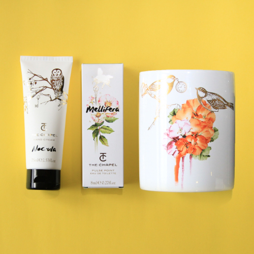 The Chapel candle, hand cream and perfume