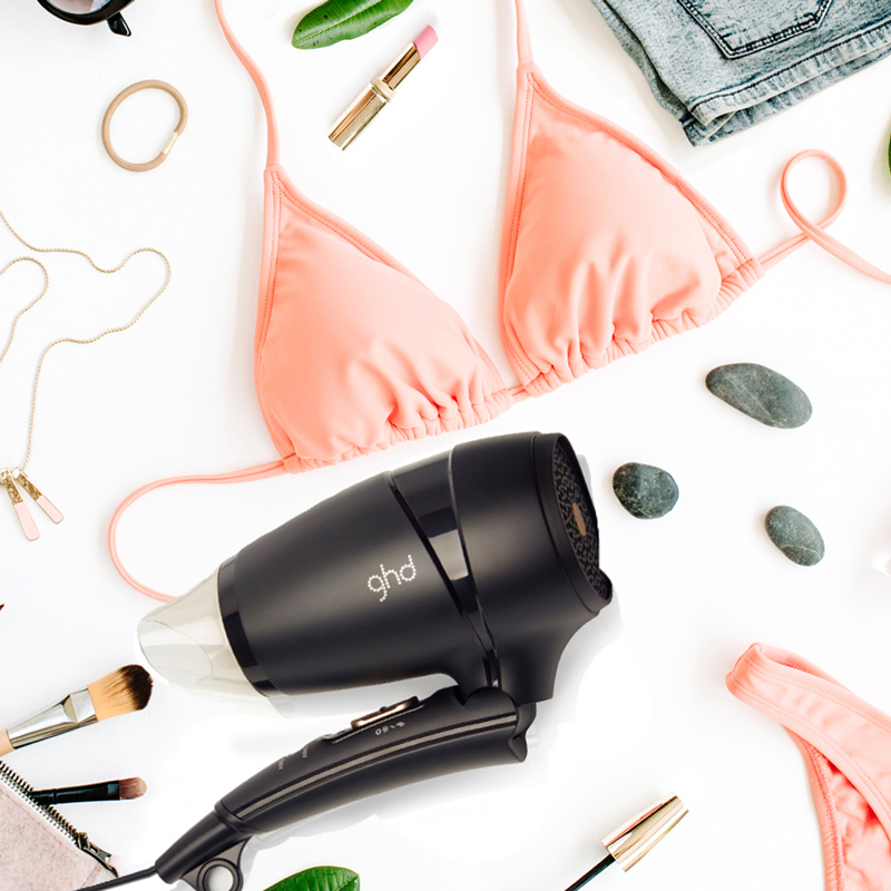 travel hair tools graphic with ghd hair dryer