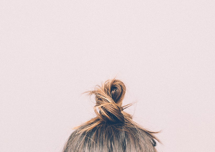 Picture of messy topknot hair