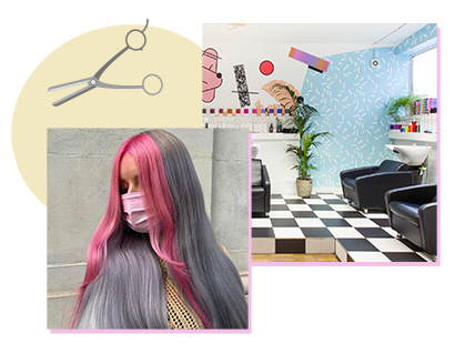A client with long coloured hair – grey with a bright pink face-framing money-piece – created by staff at Betties + Baldwins. To the right, a picture of the Bristol salon's interior, featuring a black and white checkerboard tiled floor and pale blue walls.