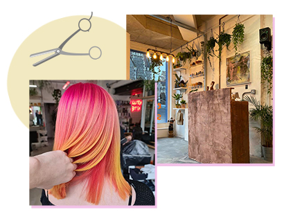 Pink and yellow ombre hair by Glitch Bristol, next to a photo of the salon interior