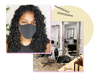 A woman with curly hair and a fresh shoulder length haircut from Nuala Morey, next to a photo of the Bristol salon's interior