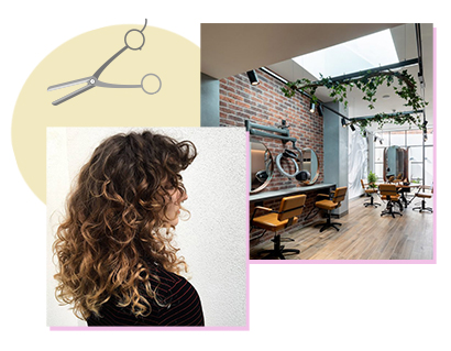 Curly brunette hair with blonde balayage through the ends, created by staff at Trevor Sorbie's Bristol salon. To the right, a picture of the salon's interior with skylights and ivy decor.