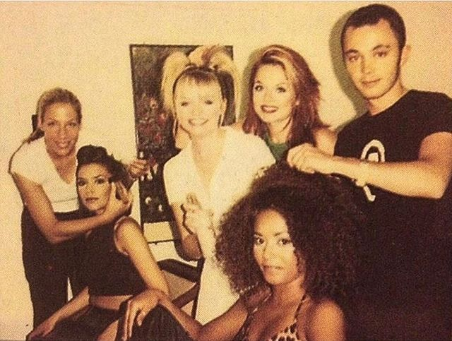 Paul Percival with the Spice Girls backstage