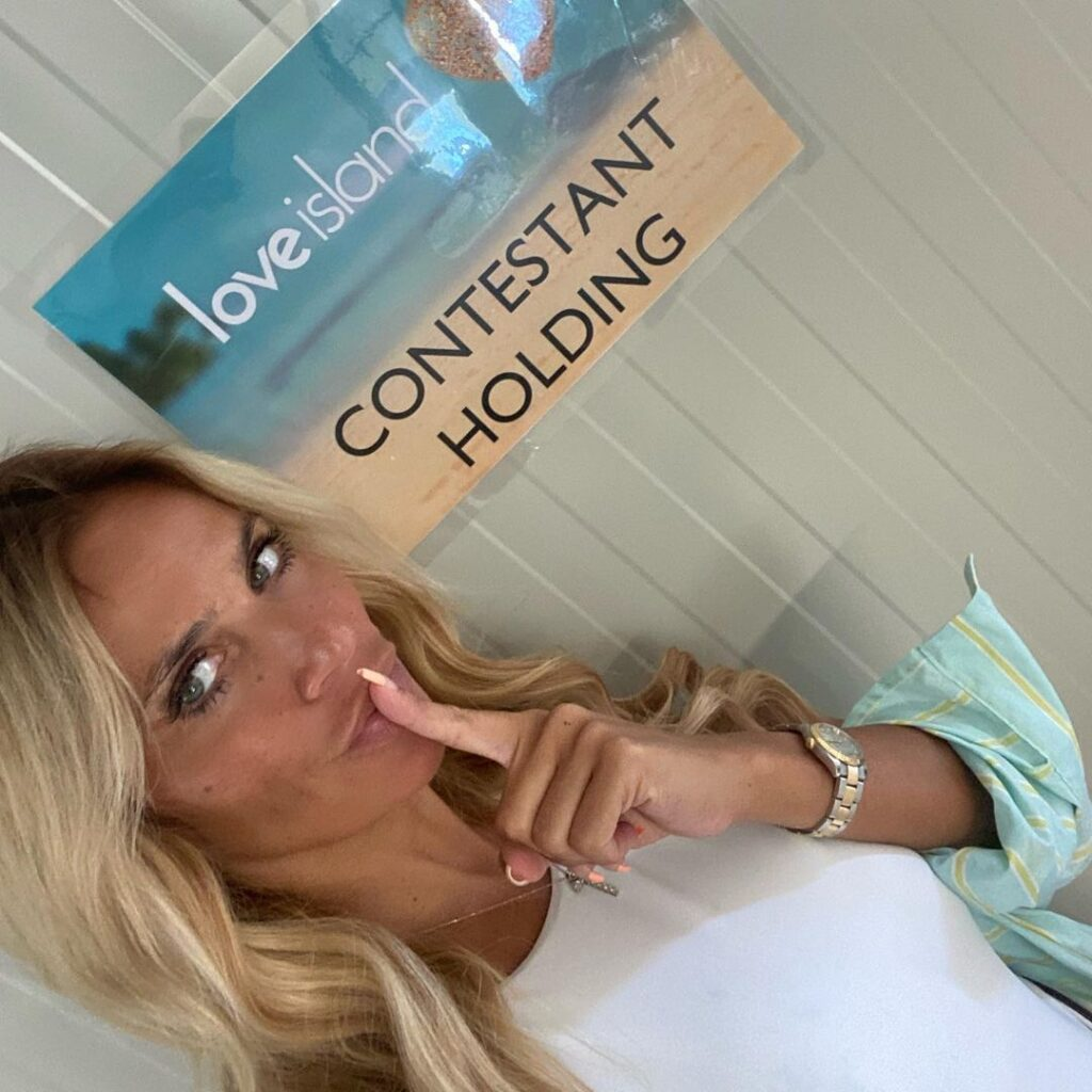 Natalie from Perez Hair behind the scenes at Love Island